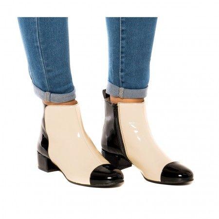 janeth white botim preto e branco com salto vegan mulher
