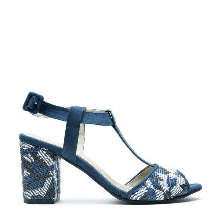 Kamila blue t-strap sandal with a block heel women vegan
