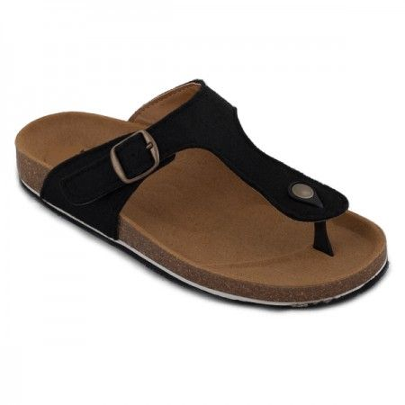 kos black thong sandal made with recycled plastic bottles women vegan