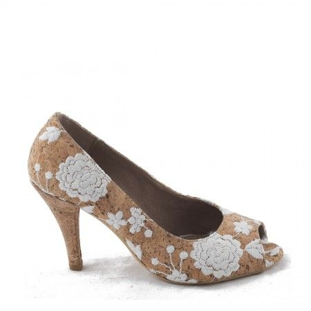 Flor vegan Cork Peep Toe shoe woman
