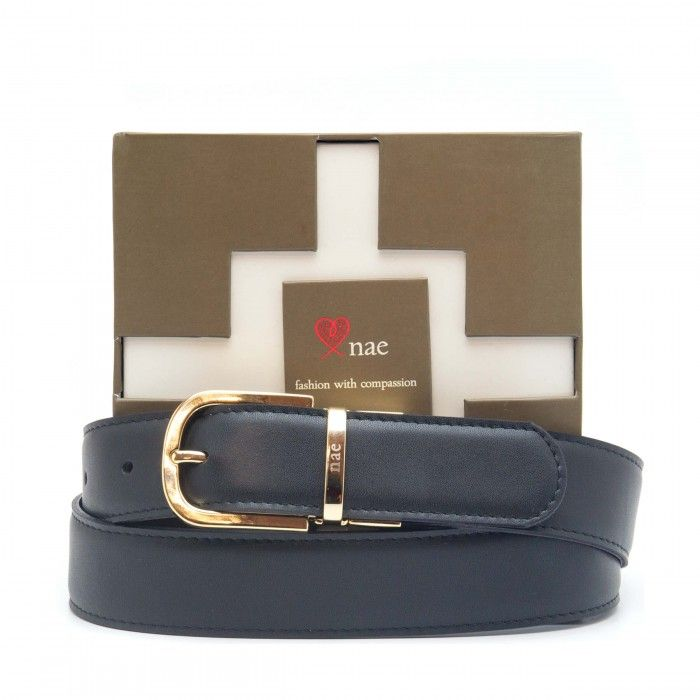 breda black brown belt women golden buckle reversible vegan