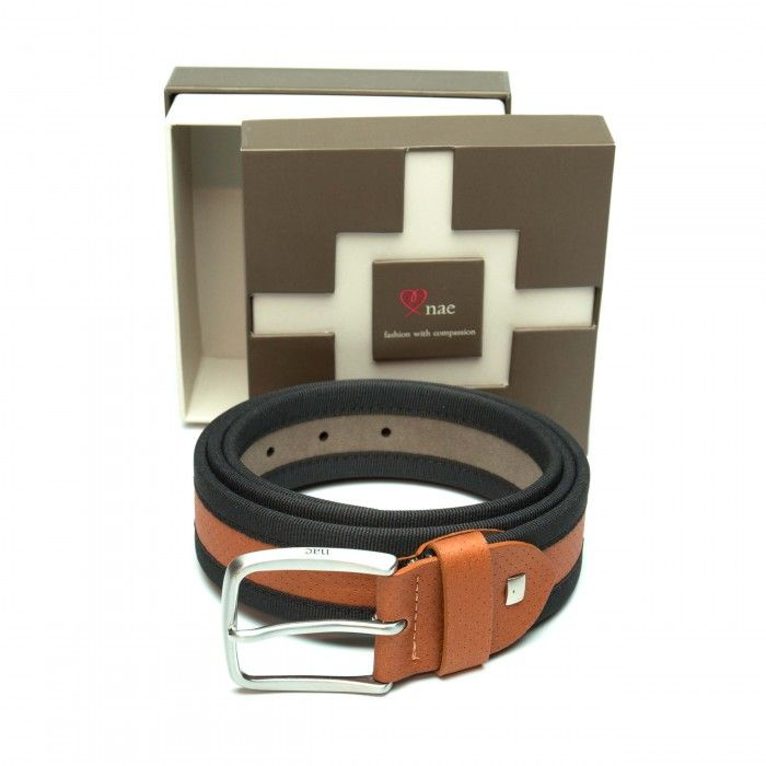 olot brown belt men silver buckle vegan