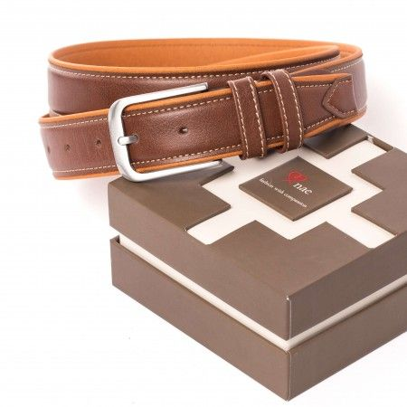 pals brown belt men silver buckle vegan