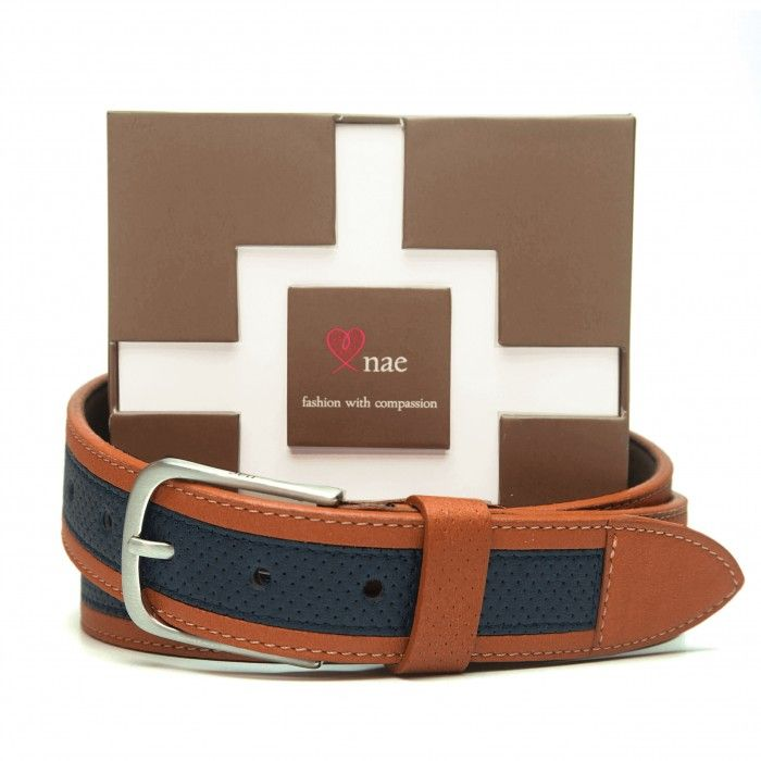 riba blue brown belt women silver buckle vegan