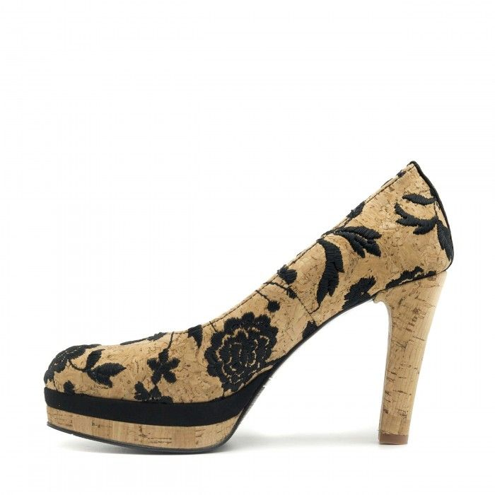 cork pump black round toe shoe women vegan