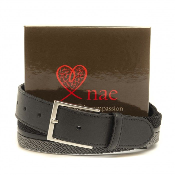 taull black grey belt men silver buckle braided surcingle vegan