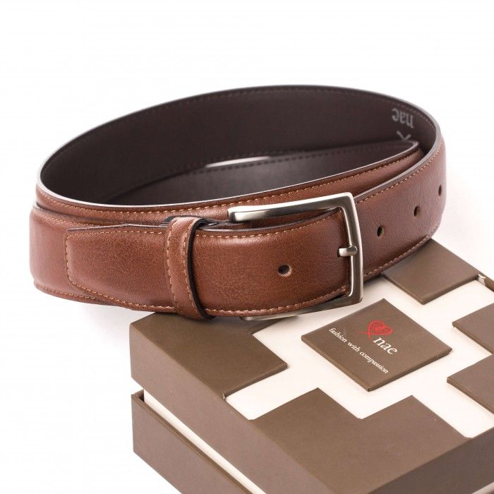tossa brown belt unisex silver buckle vegan