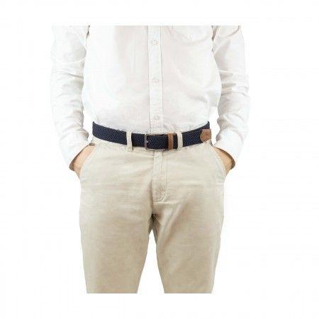 Tremp ceinture bleu marron homme femme boucle argentée tressée végane