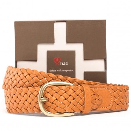 Vic brown belt unisex gold buckle braided vegan