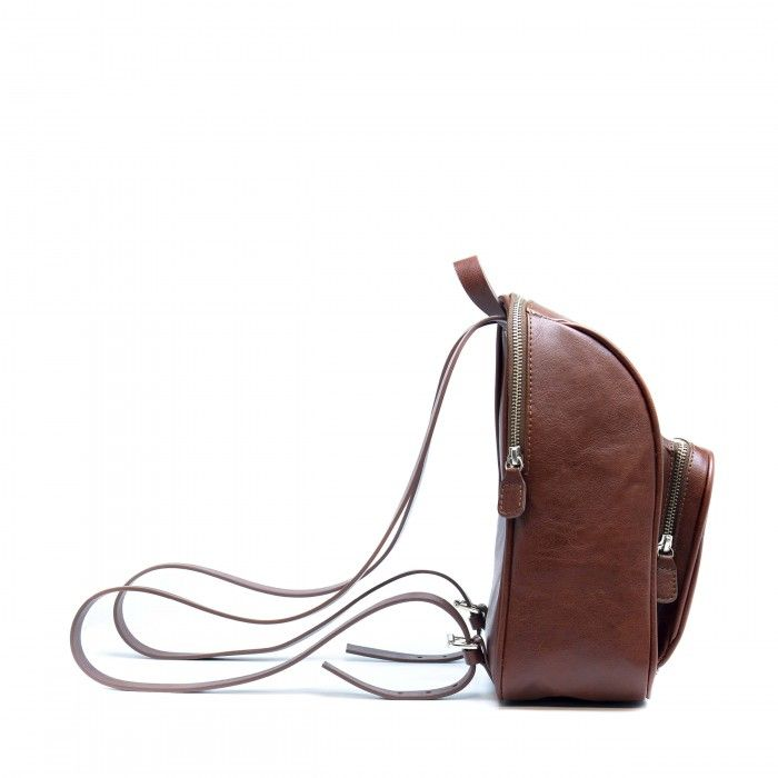 leia brown backpack with silver buckle