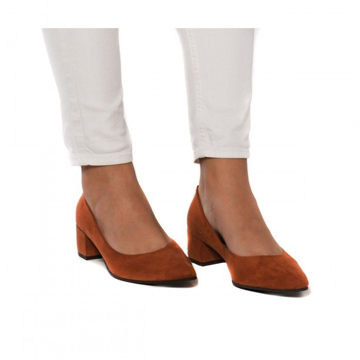 Malu Orange Chaussure végane femme point toe