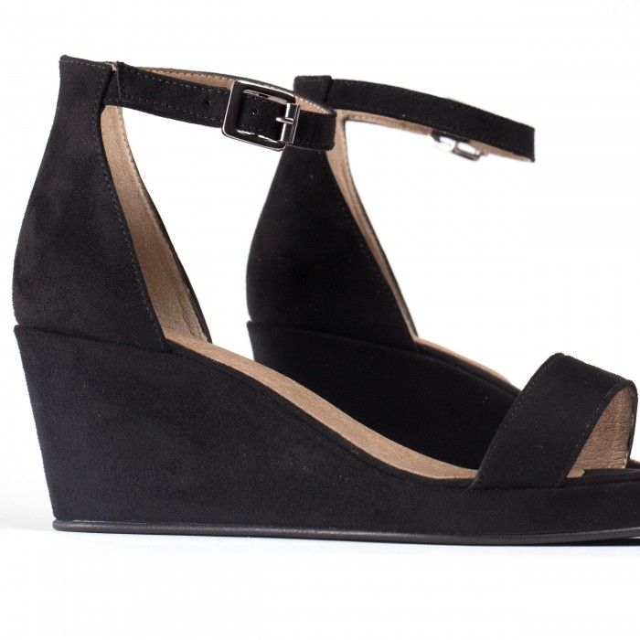 linda black ankle strap wedge sandal vegan woman