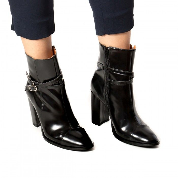 marion black ankle boots with heel for woman
