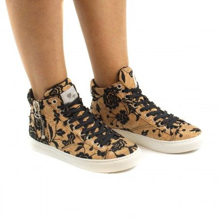 woman vegan lace-up sneakers cork