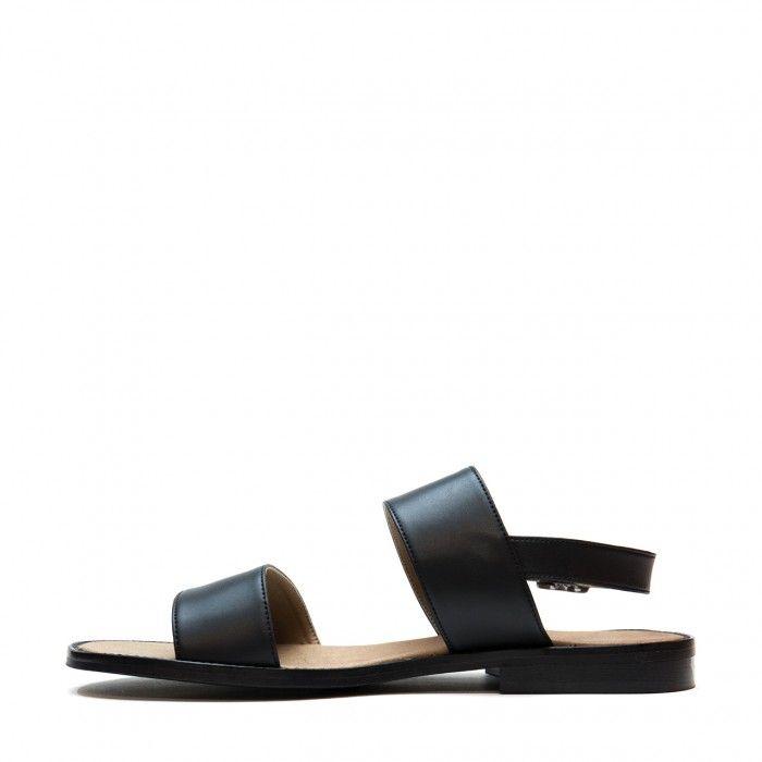 Vale black flat slingback sandal men vegan