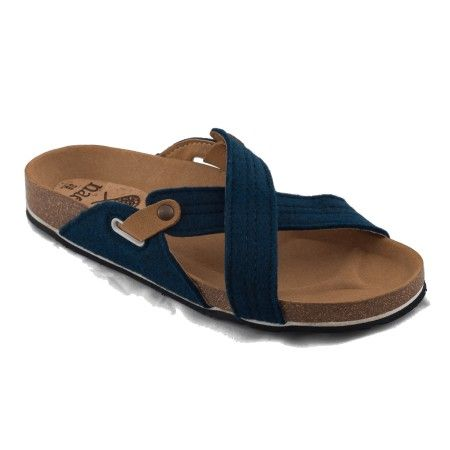 paxos blue flat sandal pet recycled plastic bottles women vegan