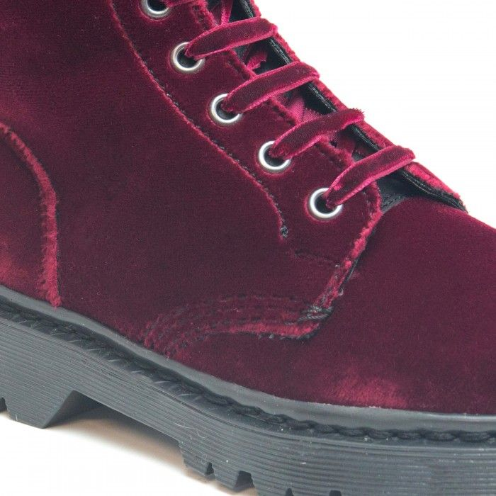 Velvet Bordeaux woman vegan biker boots laces