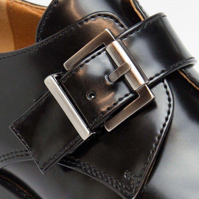 Vince Black Woman vegan monk strap shoes silver metal buckle free of nickel