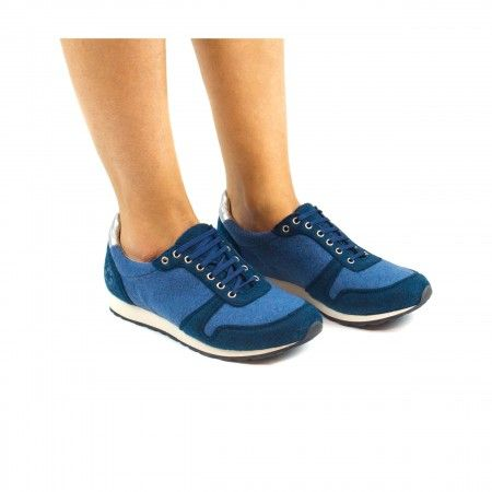 Re bottle Blue vegan sneakers man woman laces elastic recycled plastic bottles