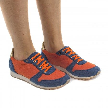 Re bottle Orange vegan sneakers man woman laces elastic recycled plastic bottles