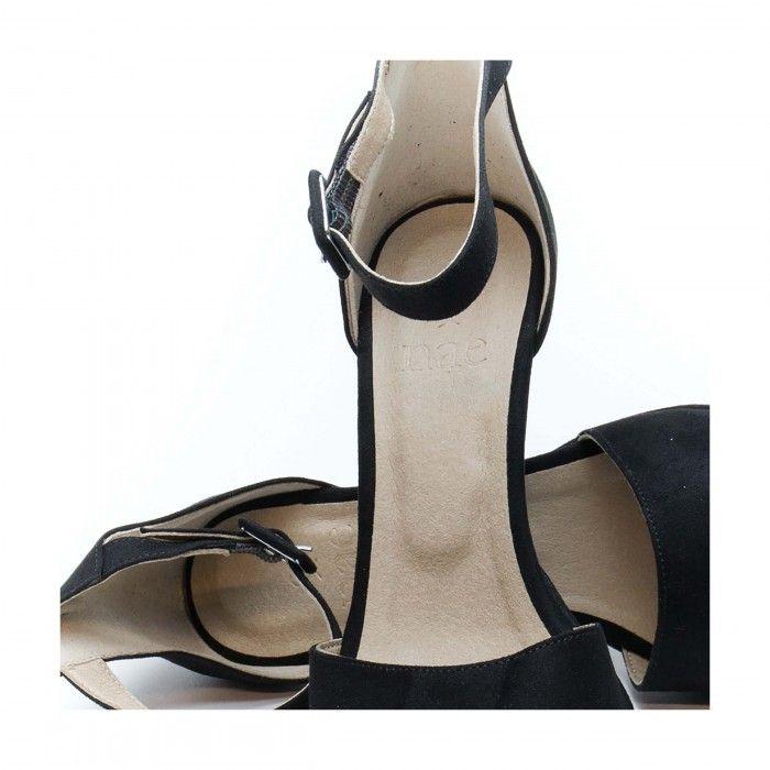 regina black sandália com tira no tornozelo preta mulher vegan