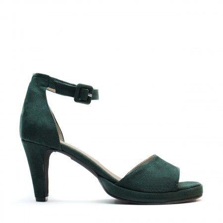 regina green ankle strap sandal women vegan