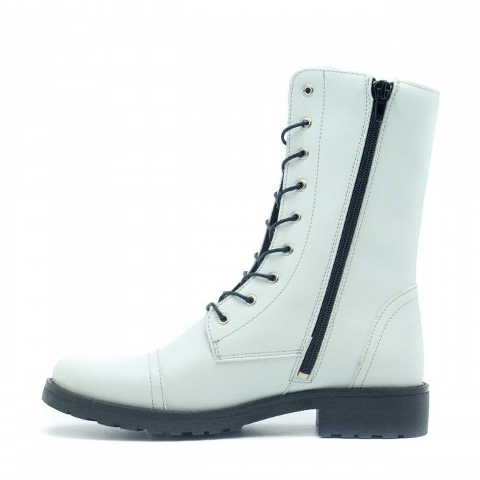 Zaira White woman vegan medium barrel boot