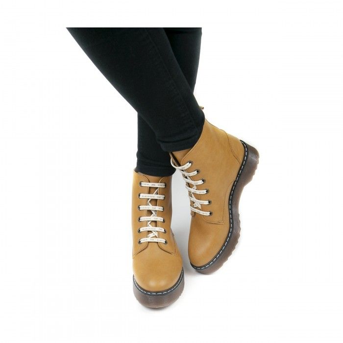 trina camel ankle boots lace up