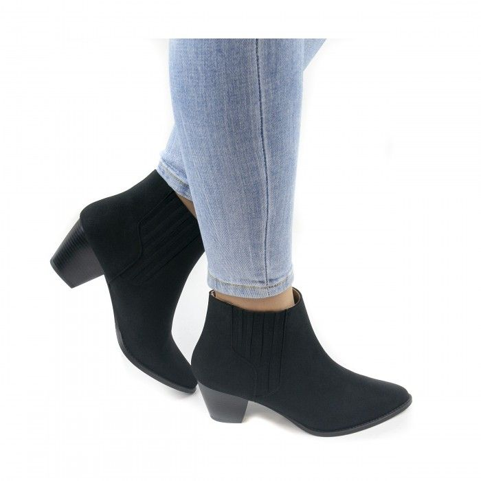 emily black western ankle boots