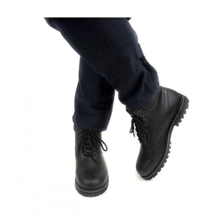 Atka vegane schwarze Unisex Stiefel mit einer Schnürung