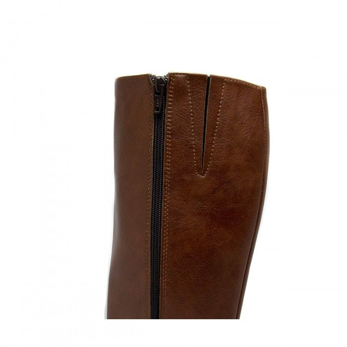 lou marron botte haute genou femme végane