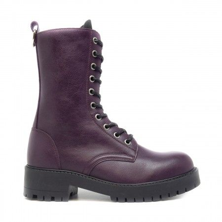 mandy purple lace up medium barrel boots women vegan