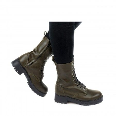 mandy green lace up medium barrel boots women vegan