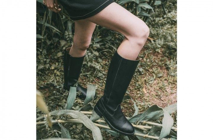 Lou - Bota negra de caña alta hasta la rodilla