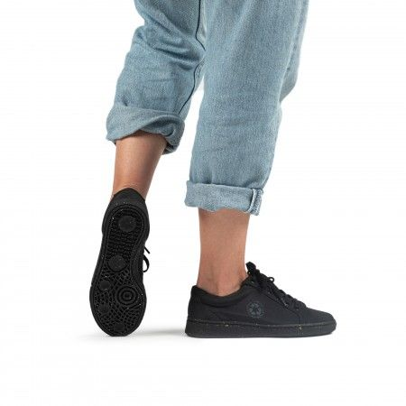 ganges black derby sneaker made with recycled plastic from the ocean