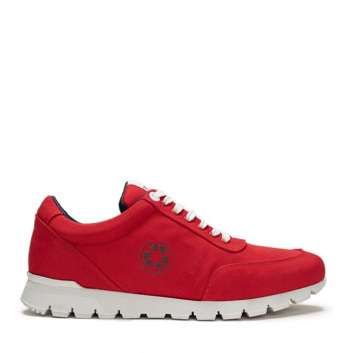 nilo red trainers sneakers made with recycled plastic from the ocean