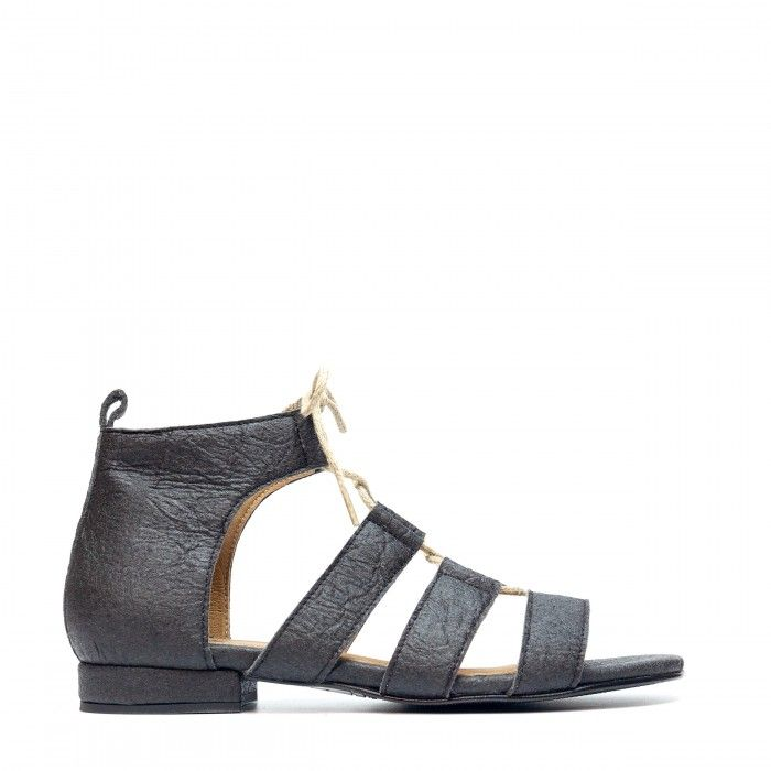 Hera Black Pinatex Vegan Sandals