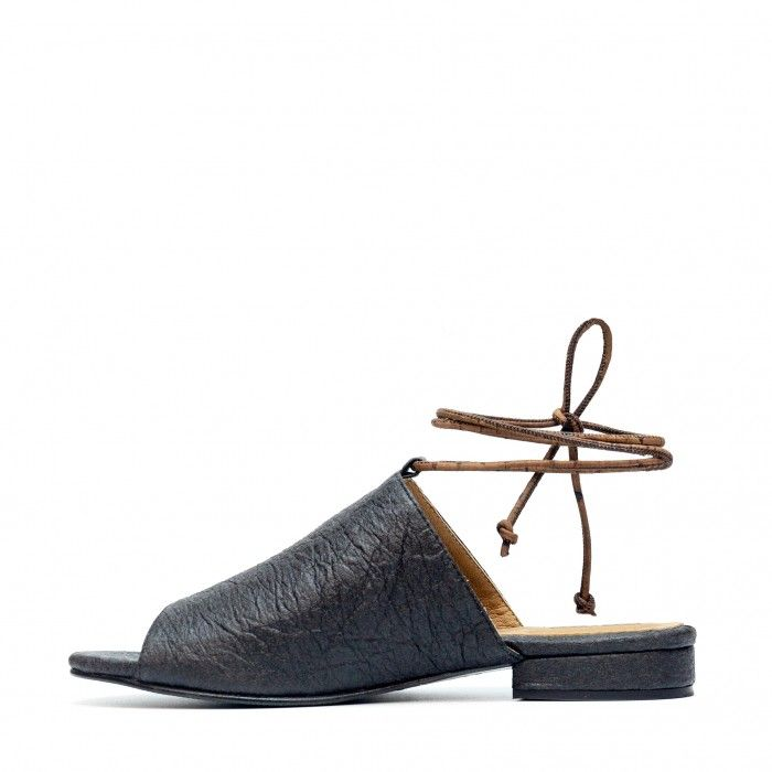 Theia Black Pinatex Vegan Sandals