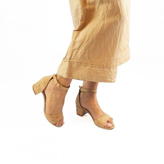 Cora cork block heel