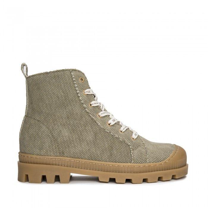 Noah Grün vegane Bio- Sneaker- Boots, aus Bio- Baumwolle