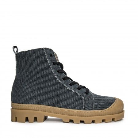Noah Black Organic Cotton vegan sneaker boots