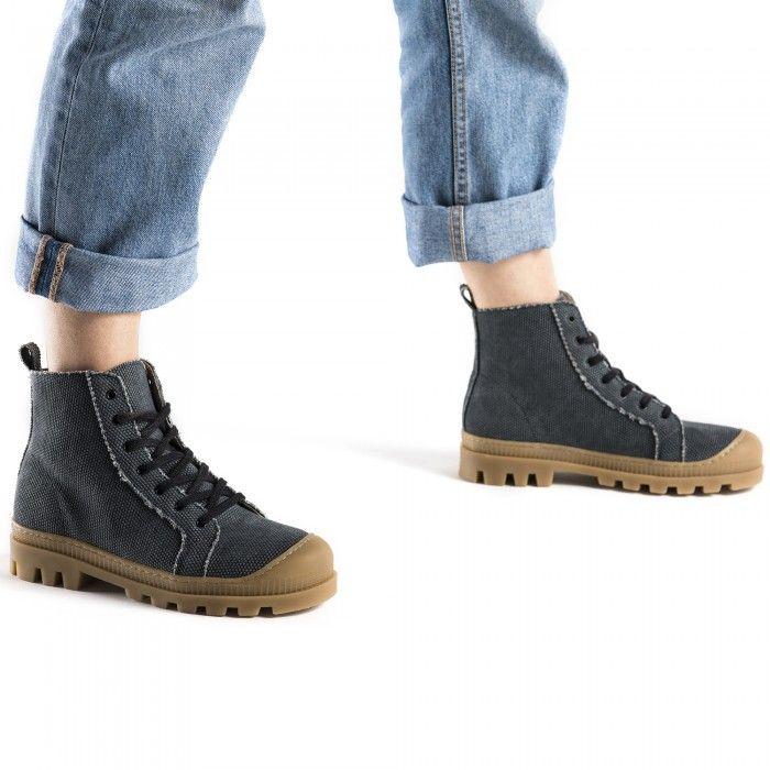 Noah Black Organic Cotton vegan sneaker boots