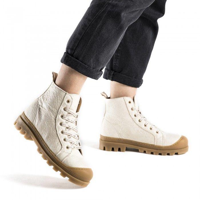 Noah Piñatex Creme- weiß vegane Sneaker- Boots