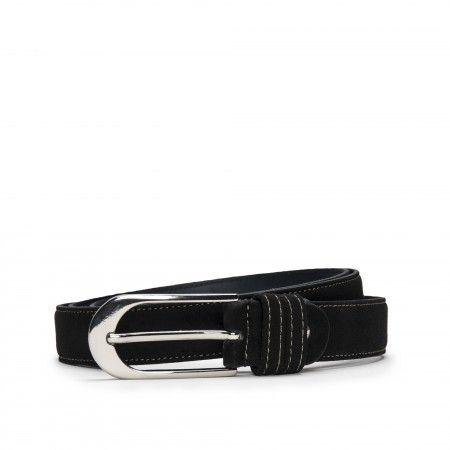 Pera Black Microfiber Vegan Belt