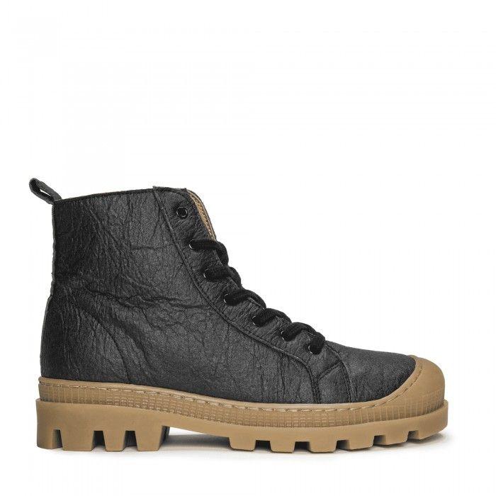Noah Piñatex Schwarz vegane Sneaker- Boots